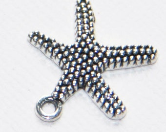 10 pcs of antiqued Silver Starfish charm 19x19.5mm, antique silver starfish pendant