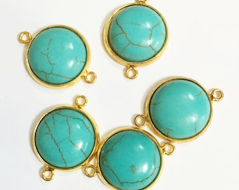 4 gold plated turquoise connector, gold flat round connectors, Turquoise connector 21mm