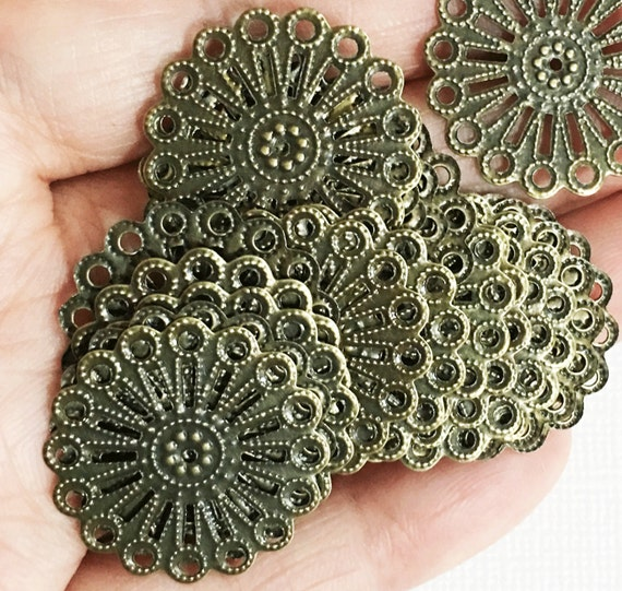 Wholesale   100 pcs of Antiqued brass over steel filigree focal findings 25mm