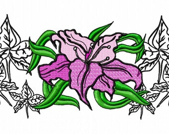 Lily and Leaves Machine Embroidery Design...2540