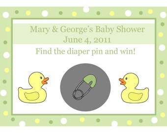 24 Personalized Baby Shower Scratch Off Game Cards - Rubber Ducky - Rubber Duck Baby Shower - Ducky Scratch Off Game - Gender Neutral Colors