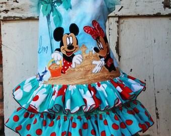 Disney minnie mickey applique cruise dress size 8 girls