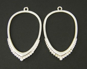 Silver Teardrop Earring Findings with Granulation Matte Brushed Silver Open Hoop Pendant Jewelry Component  S25-10 2