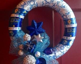 Chanukah Wreath - Chanukah Decor Ideas - Jewish winter decoration - Unique Jewish gift - Judaica Decor -  Hanukkah gift - Ready to ship