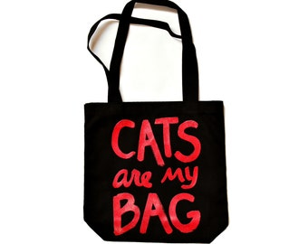 CATS are my BAG Tote, red and black, gift for women, crazy cat lady, tote bag funny, cat lover, gift for best friend, gift for her