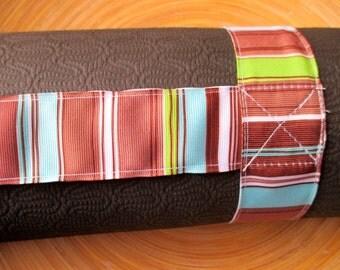 Brown retro stripe yoga mat carry strap sling (not a bag)