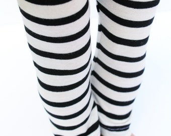 Fits like American Girl Doll Clothes - Black and White Striped Leggings, Made To Order