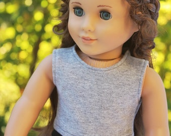 Fits like American Girl Doll Clothes - Heather Gray Cropped Tank Top