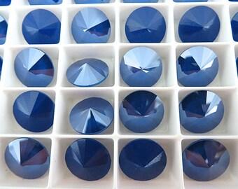 6 Royal Blue Swarovski  Rivoli Stone 1122 12mm