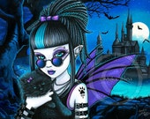 Amelia & Twixt 12x16 inch Embellished CANVAS Gothic Fairy Vampire Black Cat Moon Castle