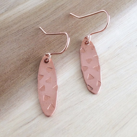 Copper Leaf Shaped Drop Earrings with Triangle Motif - Geometric - Festival - Teachers Gift - Rose Gold