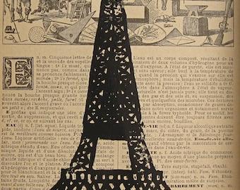 Eiffel Tower Print Vintage Style Travel Art Paris Art Print Eiffel Tower Linocut Paris Block Print Hand Pulled Print French Dictionary Art