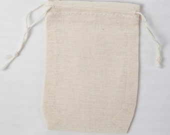 100 Double Drawstring Cotton Muslin Bags 2.75x4 inch