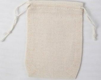 100 Double Drawstring Cotton Muslin Bags 2.75x4 inch
