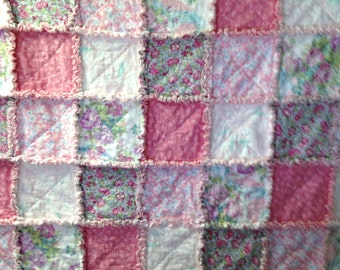 "Rag Quilt Pink Blanket 50 "" X 58"" Shades of Pink Shabby Chic  Cotton Flannel Baby Toddler Girl Teen"