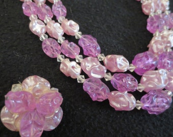 Vintage Multi Strand Chunky Beaded Lucite Bib Necklace Pink to Lavender to Lilac and Clip Earrings Lady's Gift Spring Easter Mom