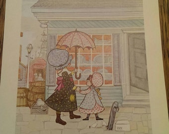 Vintage 1972 Lithograph of Little Ivy In Holly Hobbie Style