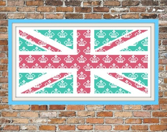 Union Jack with Crowns - a Counted Cross Stitch Pattern