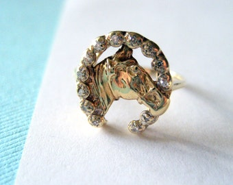 14kt Gold Diamond Horseshoe Equestrian Ring Size 6.25
