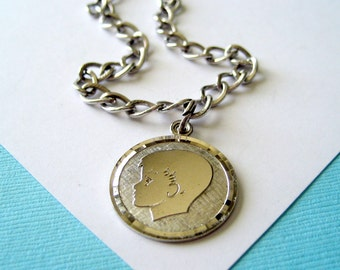 Vintage 1950's Sterling Silver Charm Bracelet and Silhouette Charm