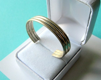Navajo Ribbed Sterling Silver Baby Cuff by Tahe