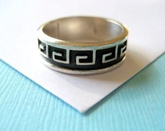 Men's Sterling Silver Greek Key Overlay Ring Size 9.5