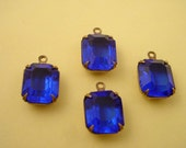 Vintage Capri Blue Octagon Glass  Stones in antique brass ox  Prong Settings 12x10 1 Ring Open Backs - 4 Pieces