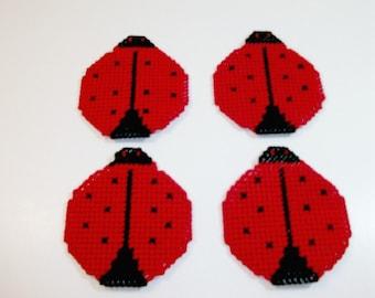 Ladybug Drink Coasters, Ladybird Beverage Coasters, Handmade Mug Rugs, Ladybug Coffee Cup Coasters, Red Ladybug Coasters, Lady Bug Mat