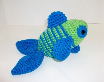 Tropical Fish Plush Toy, Blue-Green Toy Stuffed Fish, Handmade Amigurumi Crochet Fish, Seaside Stuffie, Birthday Gift, Baby Gift, Toybox Toy
