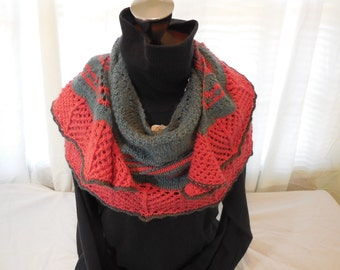 handknit Lace and Wool Wrap/Scarf/Shawl