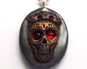 Reserve Listing Sugar Skull Pendant Necklace, Day of the Dead, Dia de los Muertos