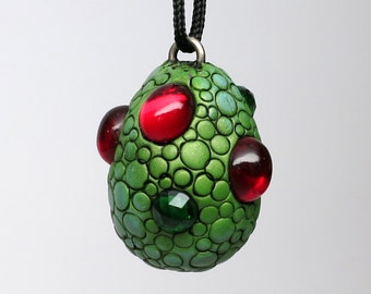 Super SALE! Dragon Egg Necklace, Polymer clay and Vintage Cabochons