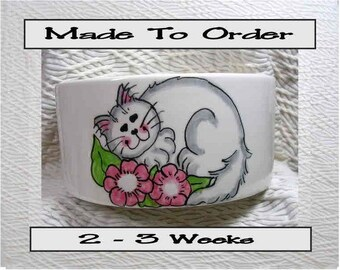 White Cat In Flowers Pet Bowl With Paw Prints Inside Medium Handmade 20 Oz. Ceramic GMS