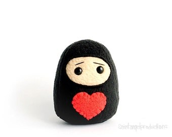 Valentine Ninja Plushie, Mini Sized Black Warrior Plush with Red Heart, Gift for your Lover, MADE TO ORDER