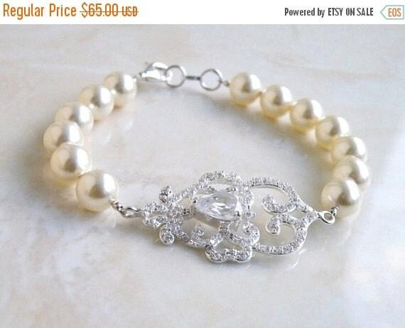 27% Off Sale Bridal Bracelet CZ Rhinestone Swarovski Ivory Pearl SB2
