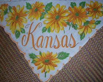 Vintage State Hanky - Kansas - Hankie Handkerchief