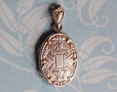 Vintage Locket Engraved Sterling Silver Photo Holder Bliss Brothers Pendant Repousse Double Frame Victorian