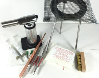 Soldering kit, Big butane torch, 10 piece, solder bangles, make rings, hot torch soldering, make bangles