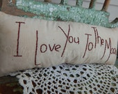 I Love You To The Moon Pillow, Mother's Day, Hand Stitched, Ornie, MDCFAAP