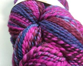 1.5 Skeins Hand Spun Hand Dyed Art Yarn Merino Wool Northwest Berry Blend
