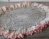 Pink Crochet Doilies, Large Vintage Ruffled Lace Doilies, Rose Trim Doillies, table runner, Rose ,Dresser Scarf, Tea Party Linens