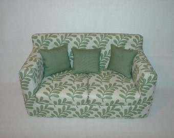 18 inch Sage Green Ferns Sofa - Modern Handmade Doll Furniture