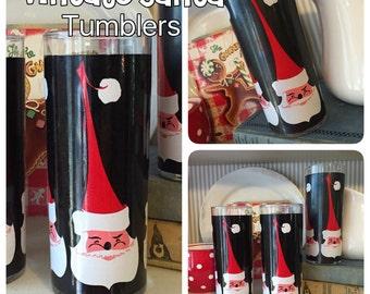 Vintage TALL & SKINNY Santa Christmas Tumblers -