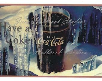 Digital Download Vintage PostCard and Calendar Images Icicles  Glass of Coca Cola Have A Coke 0013