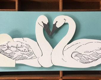 letterpress swan perfect match card