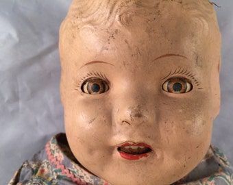 Vintage Composition Baby Doll with Sleepy Eyes and Teeth