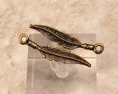 Feather Charm, Antique Brass, 25 mm, 6 Pieces M457