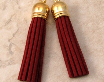 UltraSuede Tassel Pendant, Burgundy Red, Gold Cap, 58 MM, 2 Pieces, AG316