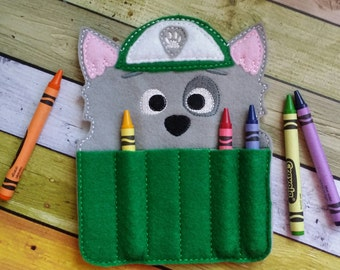 Recycle Pup Felt Crayon Holder * Chase Crayon Holder * Coloring