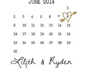 Gold Save the date cards:  gold gliter save the dates, calendar heart save the date print your own